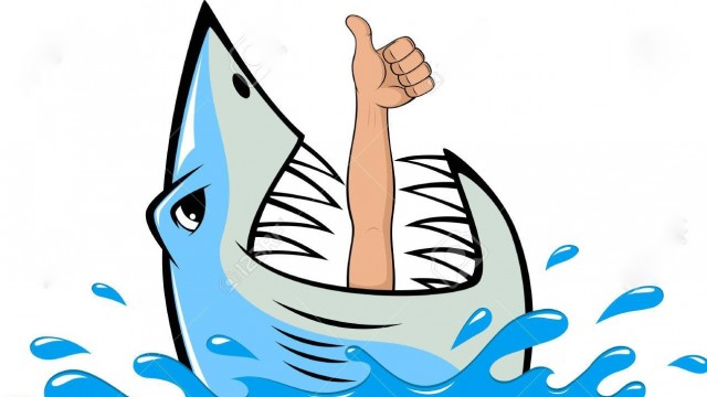 Vector illustration, toothy white shark and diver